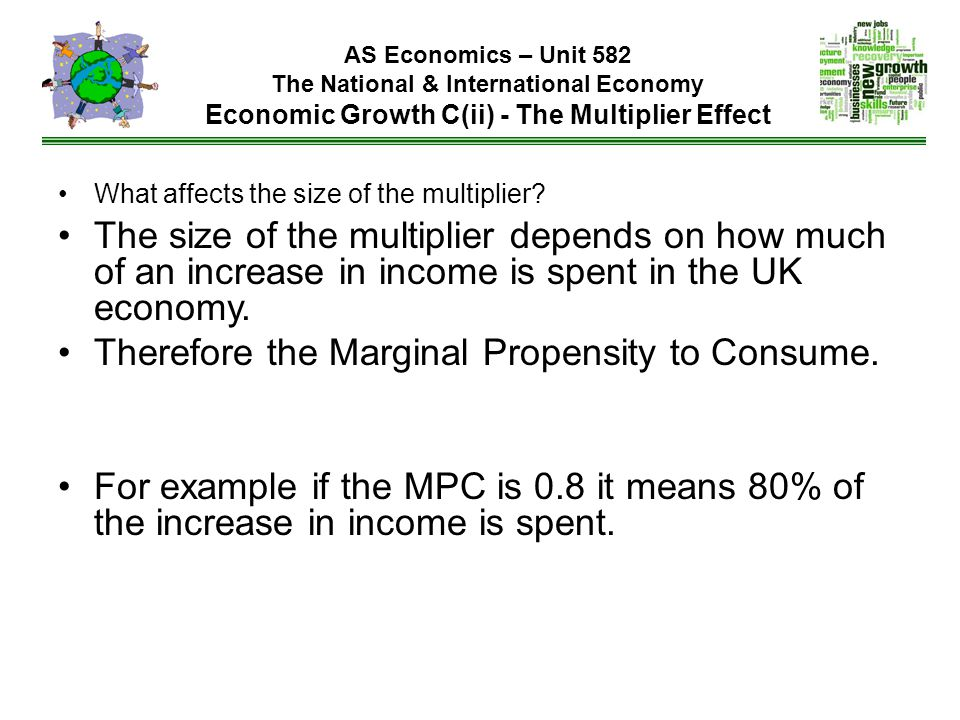 AS Economics – Unit 582 The National & International Economy Economic Growth C(ii) - The Multiplier Effect What affects the size of the multiplier.