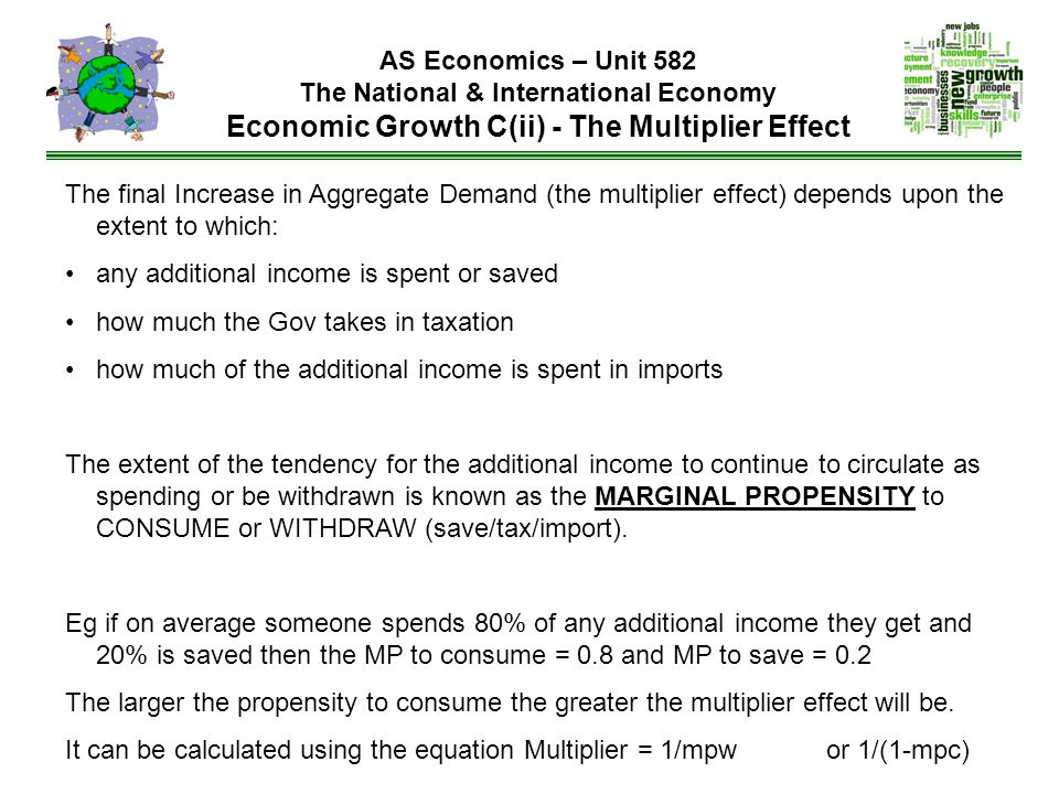 AS Economics – Unit 582 The National & International Economy Economic Growth C(ii) - The Multiplier Effect The final Increase in Aggregate Demand (the multiplier effect) depends upon the extent to which: any additional income is spent or saved how much the Gov takes in taxation how much of the additional income is spent in imports The extent of the tendency for the additional income to continue to circulate as spending or be withdrawn is known as the MARGINAL PROPENSITY to CONSUME or WITHDRAW (save/tax/import).