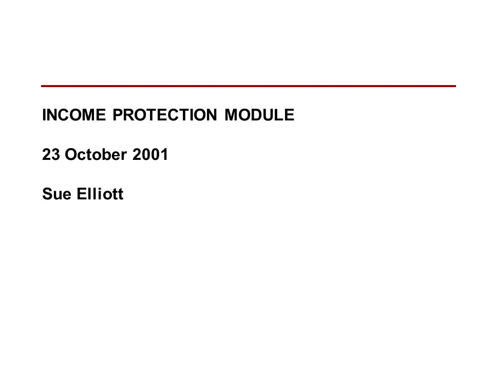 INCOME PROTECTION MODULE 23 October 2001 Sue Elliott