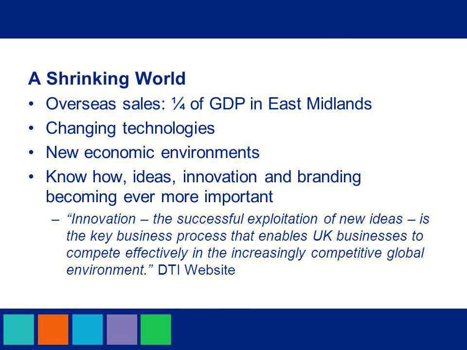 A Shrinking World Overseas sales: ¼ of GDP in East Midlands Changing technologies New economic environments Know how, ideas, innovation and branding becoming ever more important – Innovation – the successful exploitation of new ideas – is the key business process that enables UK businesses to compete effectively in the increasingly competitive global environment. DTI Website
