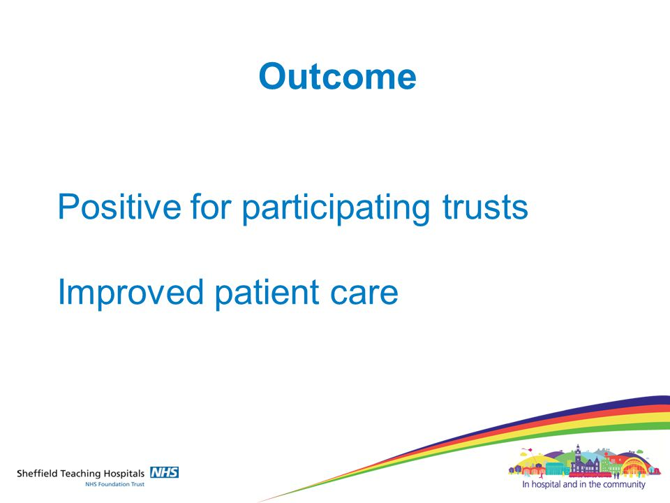 Outcome Positive for participating trusts Improved patient care