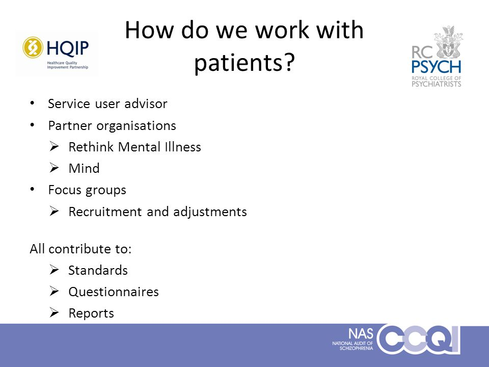 How do we work with patients.