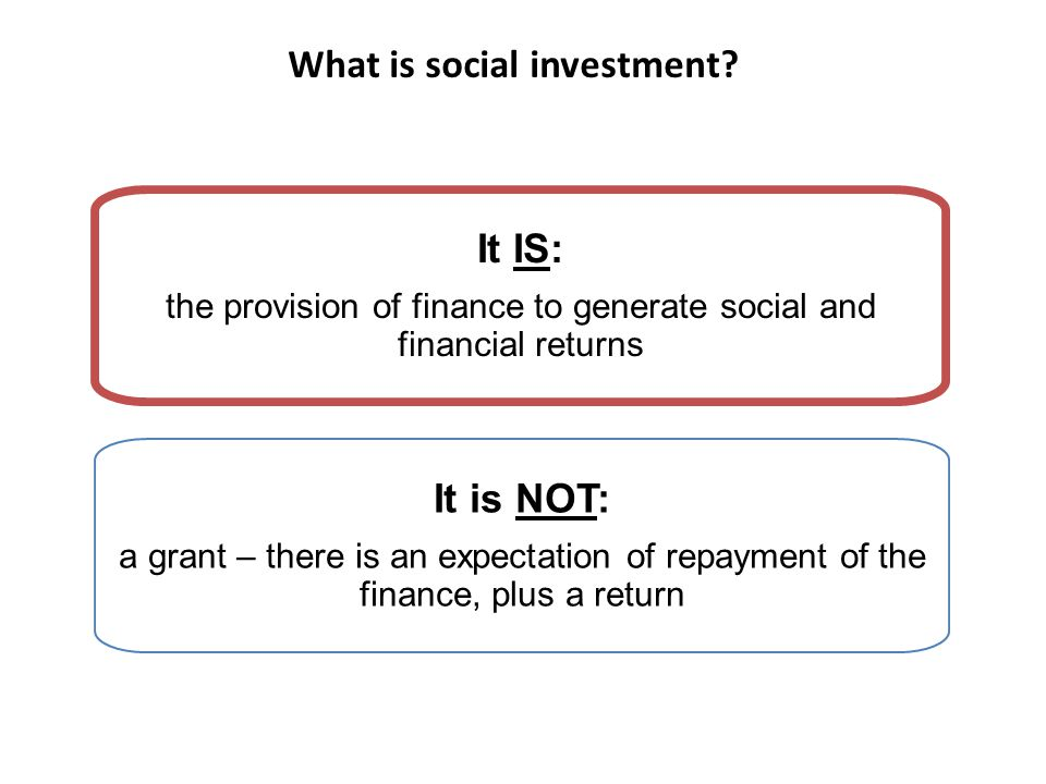 What is social investment.