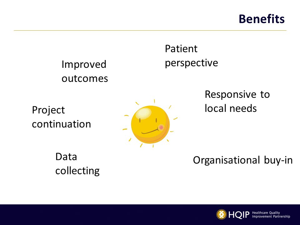 Benefits Patient perspective Responsive to local needs Organisational buy-in Data collecting Project continuation Improved outcomes