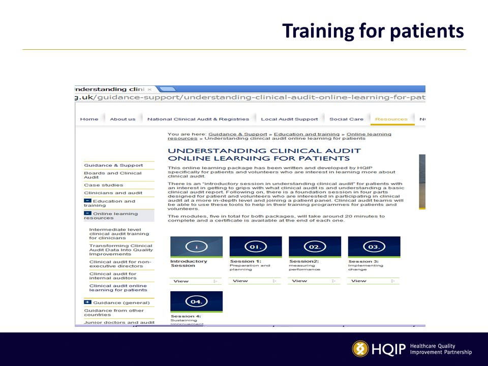 Training for patients