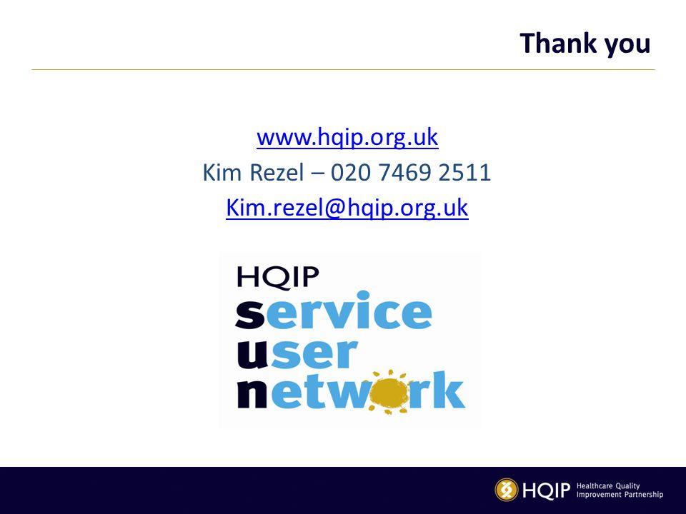 Thank you www.hqip.org.uk Kim Rezel – 020 7469 2511 Kim.rezel@hqip.org.uk