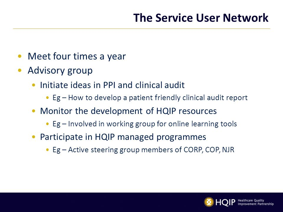 The Service User Network Meet four times a year Advisory group Initiate ideas in PPI and clinical audit Eg – How to develop a patient friendly clinica