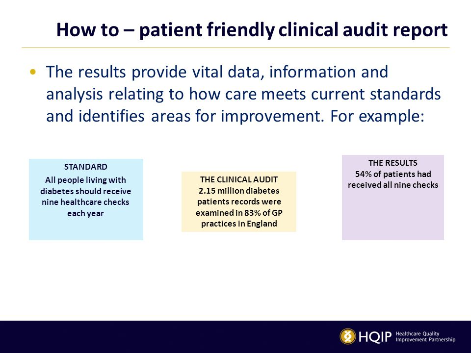 How to – patient friendly clinical audit report The results provide vital data, information and analysis relating to how care meets current standards