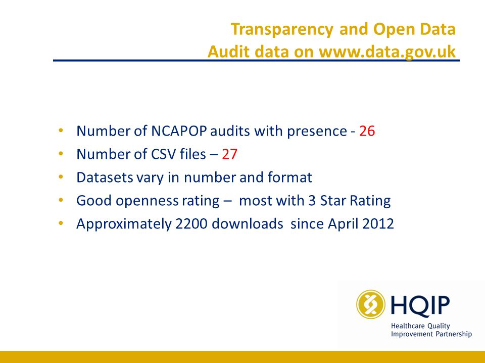 Transparency and Open Data Audit data on www.data.gov.uk Number of NCAPOP audits with presence - 26 Number of CSV files – 27 Datasets vary in number and format Good openness rating – most with 3 Star Rating Approximately 2200 downloads since April 2012
