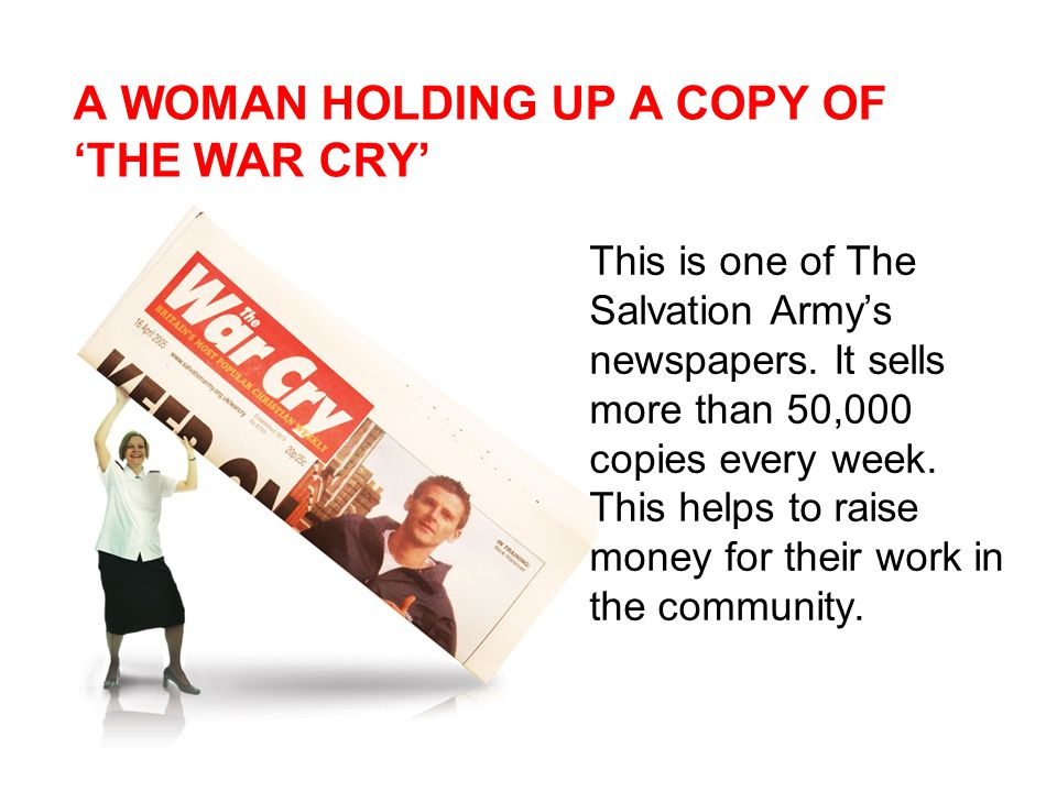 A WOMAN HOLDING UP A COPY OF 'THE WAR CRY' This is one of The Salvation Army's newspapers.