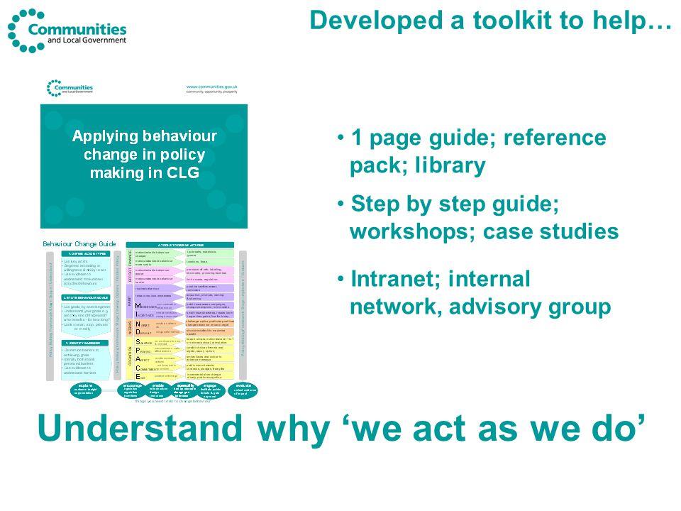 4 key steps to applying behaviour change… Define actor types 1 State behaviour goals 2 Identify barriers 3 Derive actions 4