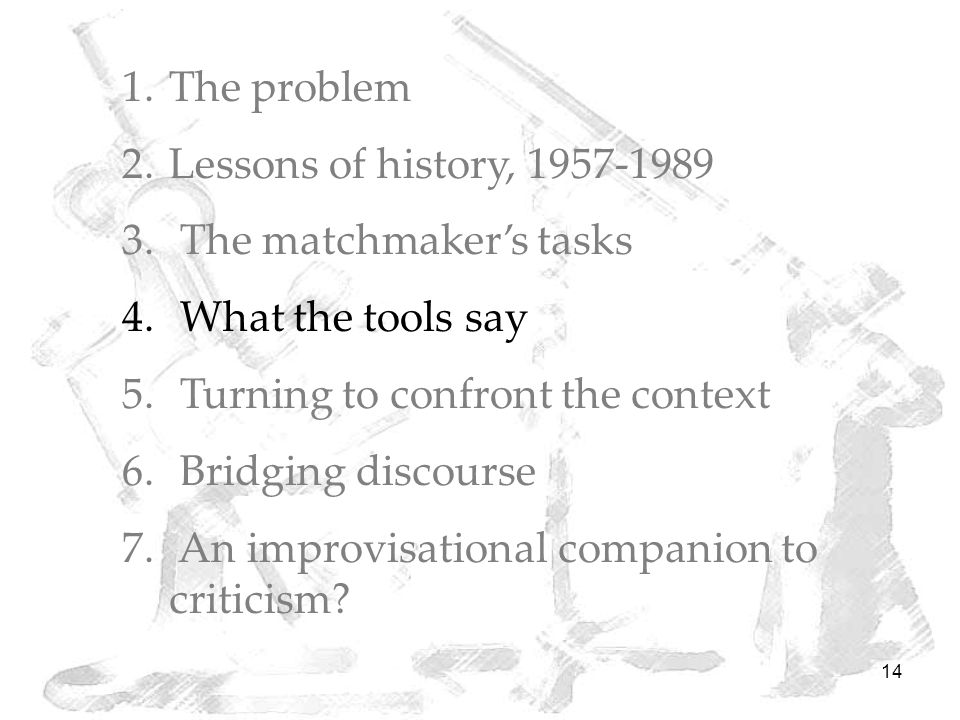 14 1.The problem 2.Lessons of history, 1957-1989 3.
