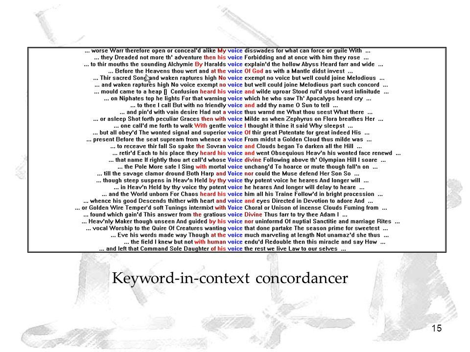 15 Keyword-in-context concordancer