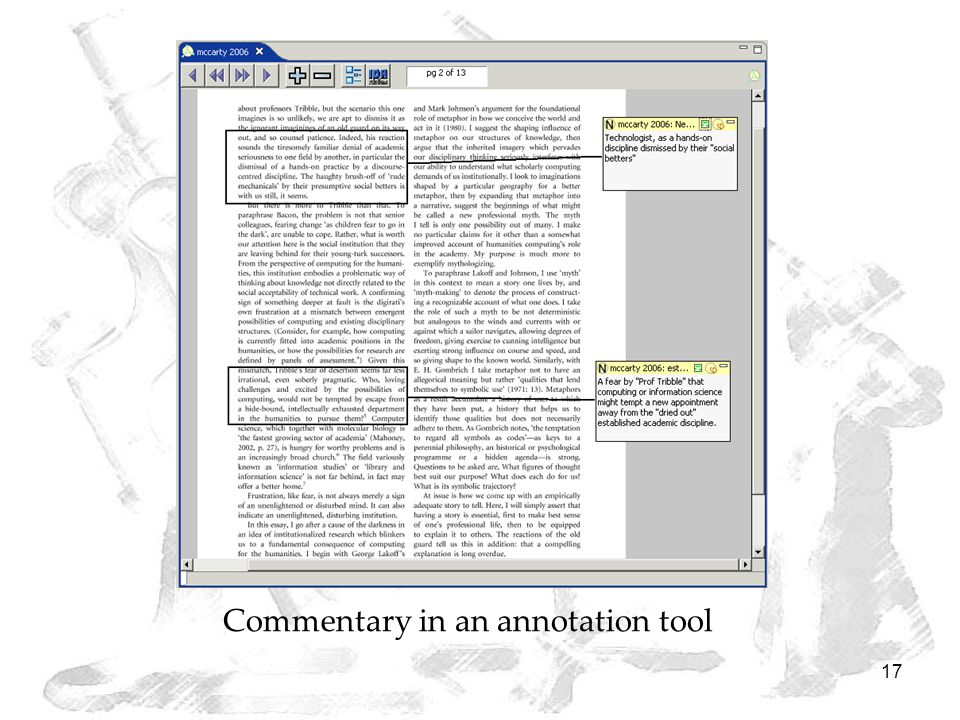 17 Commentary in an annotation tool