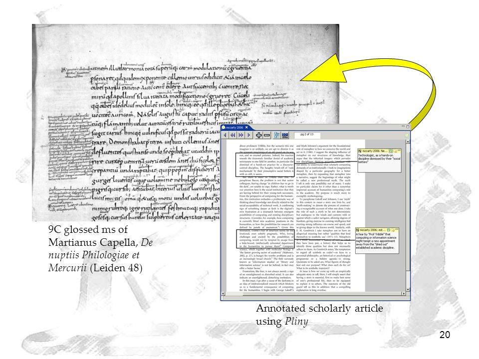 20 9C glossed ms of Martianus Capella, De nuptiis Philologiae et Mercurii (Leiden 48) Annotated scholarly article using Pliny