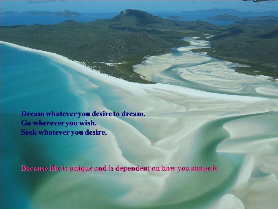 Dream whatever you desire to dream.Go wherever you wish.