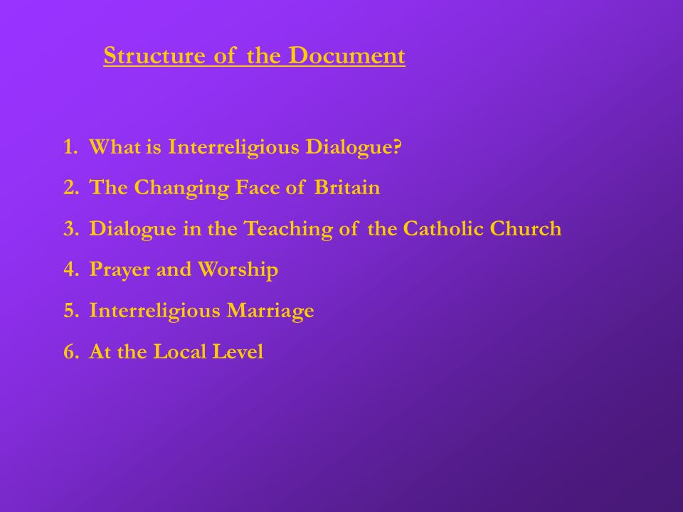 Structure of the Document 1.What is Interreligious Dialogue.