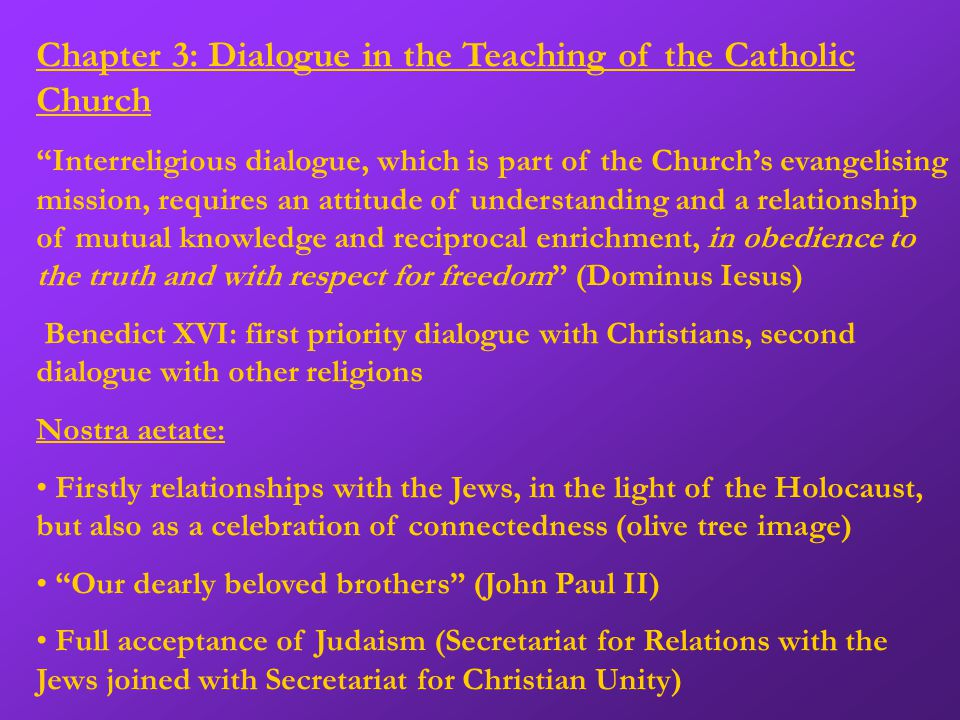 Chapter 5: Interreligious Marriage o All marriage: intended and blessed from the beginning, lifelong and exclusive union with the orientation on the birth and upbringing of children o Christian marriage as a sacrament o Other religions have marriage and family values at their heart, which are threatened by values of our time o Intercultural marriages can deepen faith and be an enrichment o Respect for both partners' religious feelings, openness, adapted ceremonies, continued support for their married life