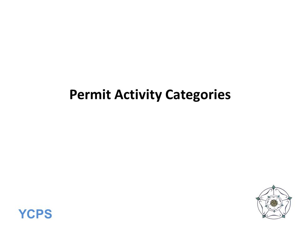 YCPS Permit Activity Categories