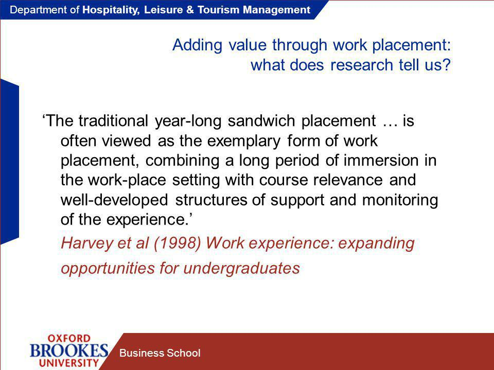 Department of Hospitality, Leisure & Tourism Management Business School Final thoughts Students (and other) stakeholders need to see the value of work experience Work experience assessment needs to be 'authentic' Assessment needs to be challenging and academically rigorous ALL stakeholders need to take assessment seriously and support student learning at work Students need to be well prepared, well supported and encouraged to learn – BUT they are the final decision makers in regard to whether they learn HOWEVER – IF EDUCATORS PROVIDE THE LEARNING FRAMEWORK AND EMPLOYERS PROVIDE THE RIGHT LEARNING CONDITIONS THEN STUDENTS WILL FIND LEARNING A REWARDING EXPERIENCE - AND HARD TO RESIST !!!