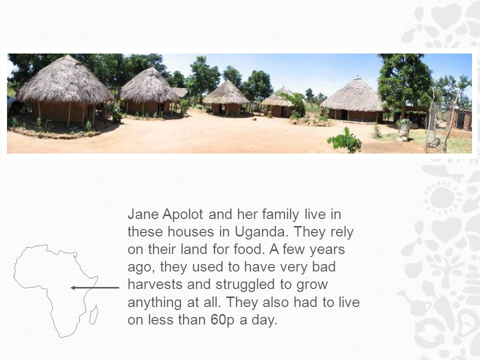 Jane Apolot and her family live in these houses in Uganda.