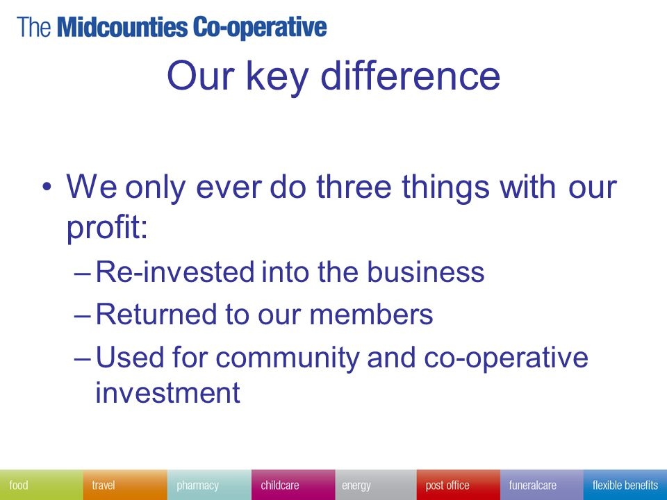 Our key difference We only ever do three things with our profit: –Re-invested into the business –Returned to our members –Used for community and co-operative investment