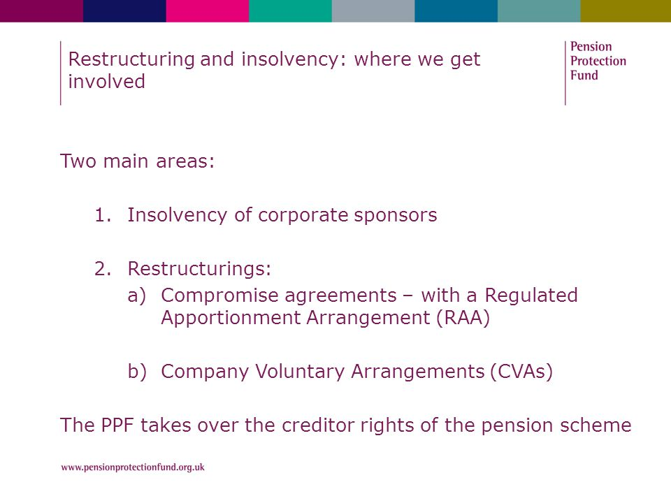 Restructuring and insolvency: where we get involved Two main areas: 1.Insolvency of corporate sponsors 2.Restructurings: a)Compromise agreements – wit