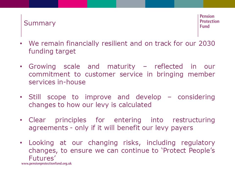 Summary We remain financially resilient and on track for our 2030 funding target Growing scale and maturity – reflected in our commitment to customer service in bringing member services in-house Still scope to improve and develop – considering changes to how our levy is calculated Clear principles for entering into restructuring agreements - only if it will benefit our levy payers Looking at our changing risks, including regulatory changes, to ensure we can continue to 'Protect People's Futures'