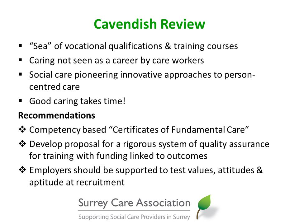 Cavendish Review  New bridging programmes into pre-registration nursing  Widen participation into NHS funded courses  Develop a robust career development framework  Codes of conduct for staff  Explore how to move to commissioning based on outcomes  Payment of travel time should be a contract condition for domiciliary care providers