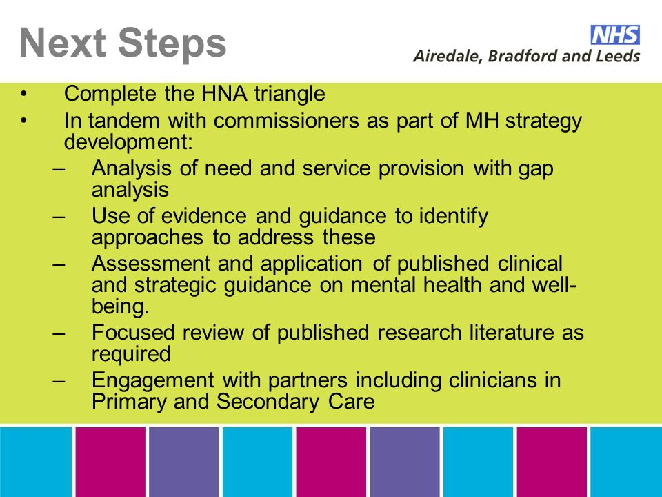 Next Steps Complete the HNA triangle In tandem with commissioners as part of MH strategy development: –Analysis of need and service provision with gap analysis –Use of evidence and guidance to identify approaches to address these –Assessment and application of published clinical and strategic guidance on mental health and well- being.