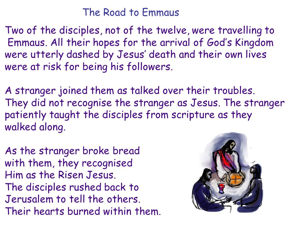 The Road to Emmaus Two of the disciples, not of the twelve, were travelling to Emmaus.