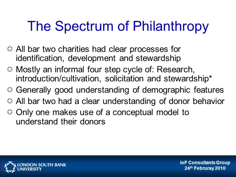 IoF Consultants Group 24 th Februray 2010 The Spectrum of Philanthropy All bar two charities had clear processes for identification, development and s