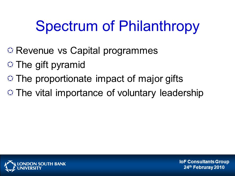 IoF Consultants Group 24 th Februray 2010 Spectrum of Philanthropy Revenue vs Capital programmes The gift pyramid The proportionate impact of major gifts The vital importance of voluntary leadership