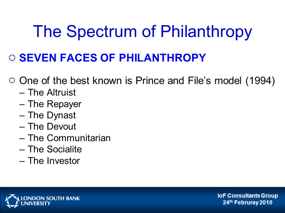IoF Consultants Group 24 th Februray 2010 The Spectrum of Philanthropy SEVEN FACES OF PHILANTHROPY One of the best known is Prince and File's model (1