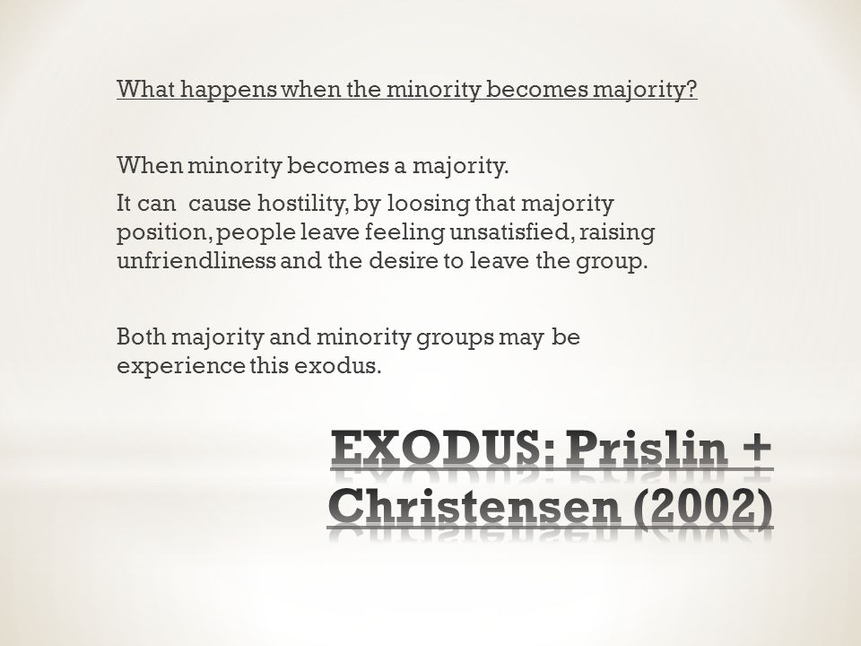 What happens when the minority becomes majority. When minority becomes a majority.