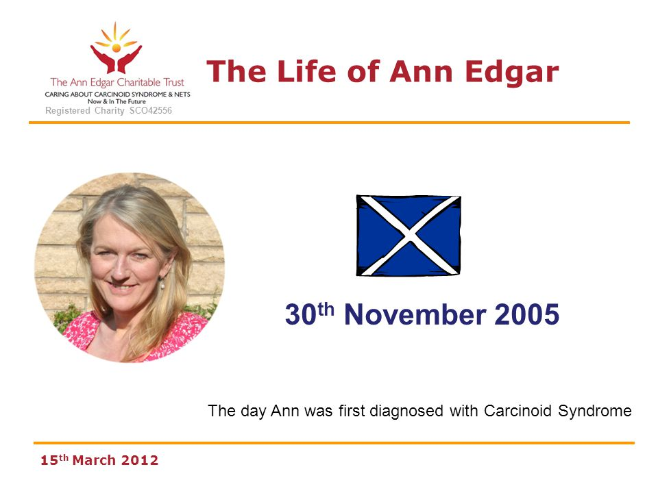 The Life of Ann Edgar Registered Charity SCO42556 15 th March 2012 30 th November 2005 The day Ann was first diagnosed with Carcinoid Syndrome