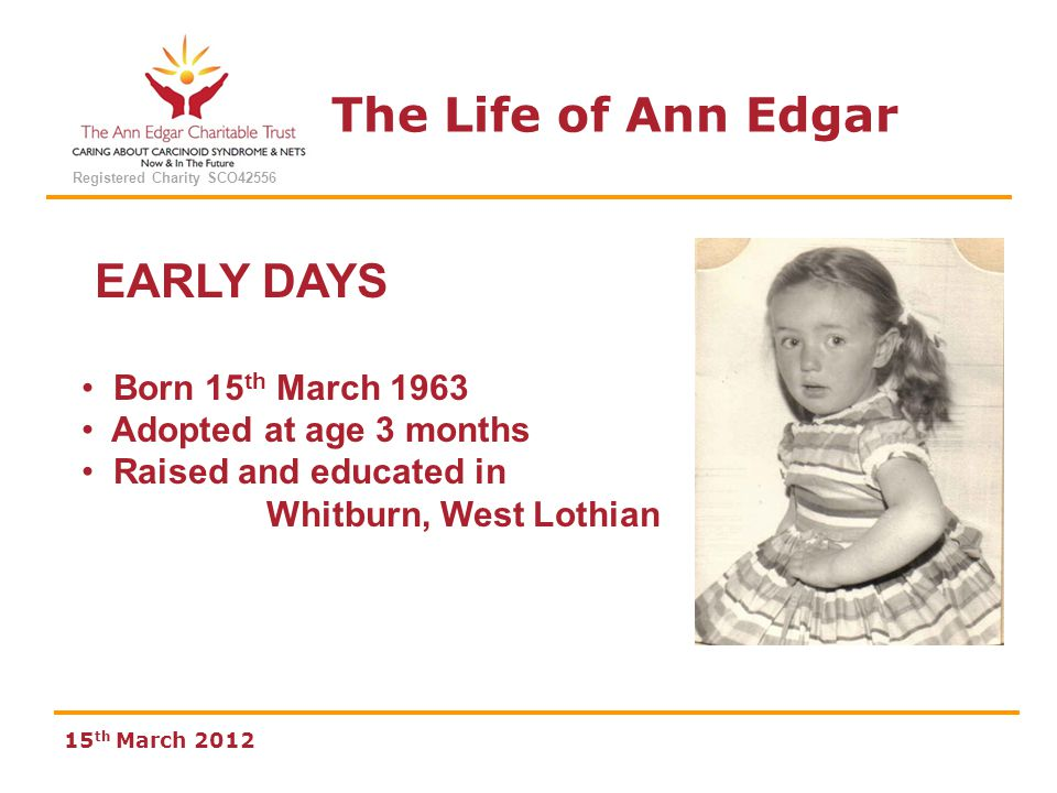 The Life of Ann Edgar Registered Charity SCO42556 15 th March 2012 EARLY DAYS Born 15 th March 1963 Adopted at age 3 months Raised and educated in Whi