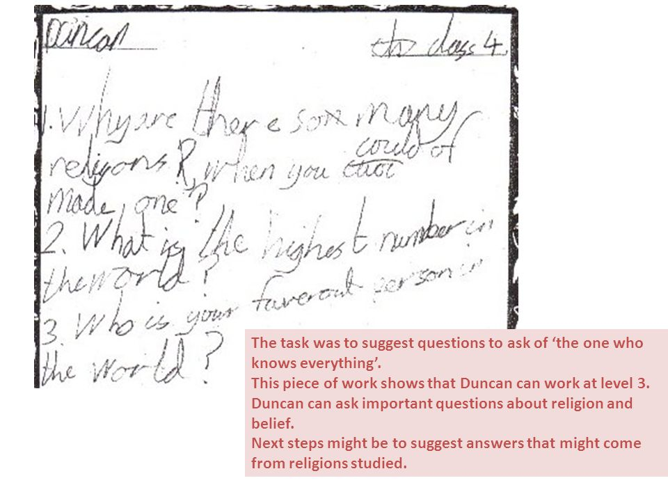 The task was to suggest questions to ask of 'the one who knows everything'. This piece of work shows that Duncan can work at level 3. Duncan can ask i