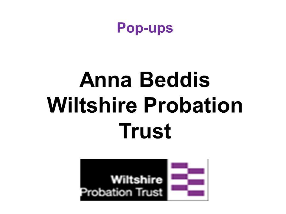 Pop-ups Anna Beddis Wiltshire Probation Trust