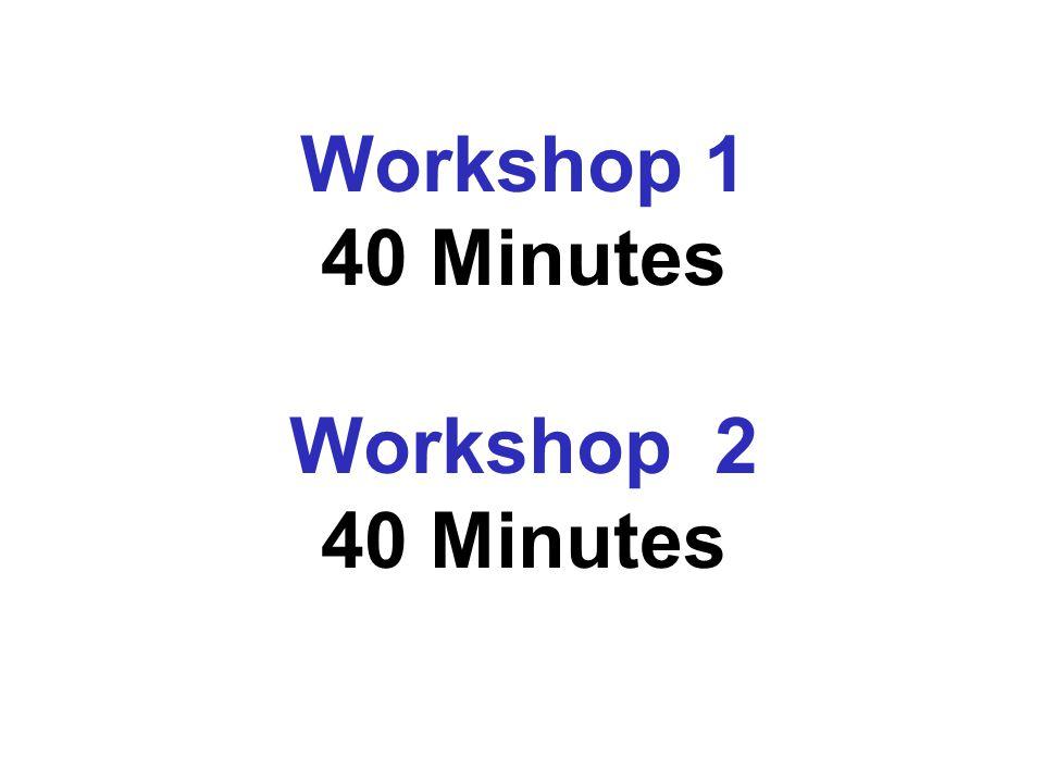 Workshop 1 40 Minutes Workshop 2 40 Minutes
