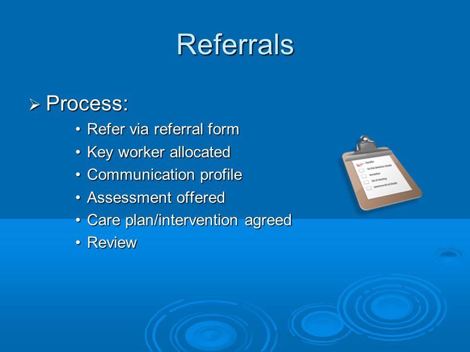 Referrals  Process: Refer via referral formRefer via referral form Key worker allocatedKey worker allocated Communication profileCommunication profil