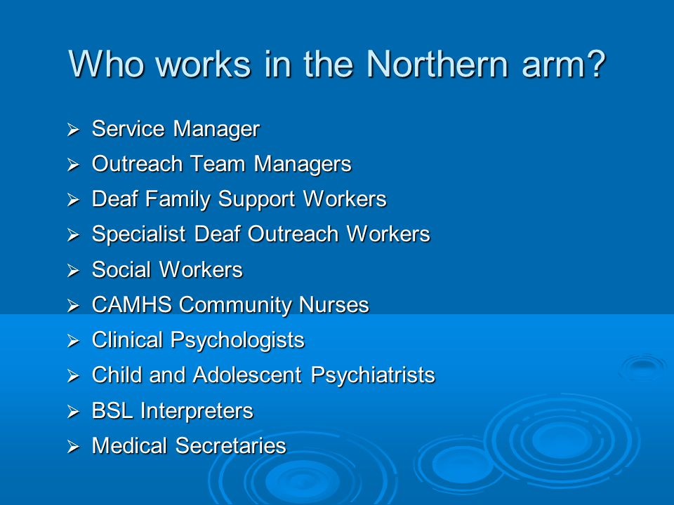 Who works in the Northern arm?  Service Manager  Outreach Team Managers  Deaf Family Support Workers  Specialist Deaf Outreach Workers  Social Wo