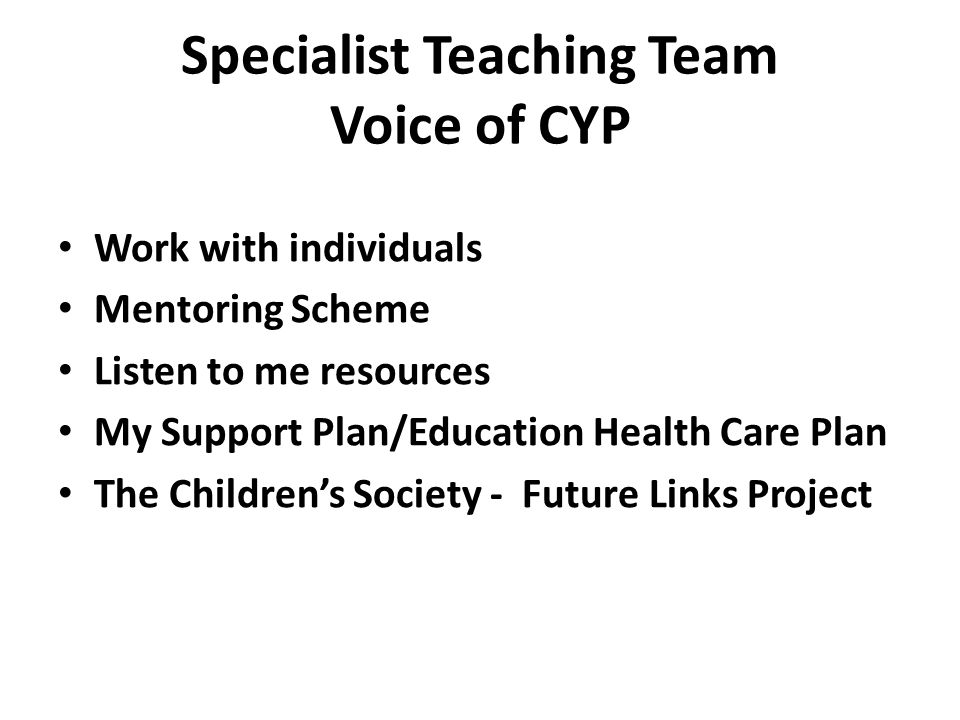 Specialist Teaching Team Voice of CYP Work with individuals Mentoring Scheme Listen to me resources My Support Plan/Education Health Care Plan The Children's Society - Future Links Project