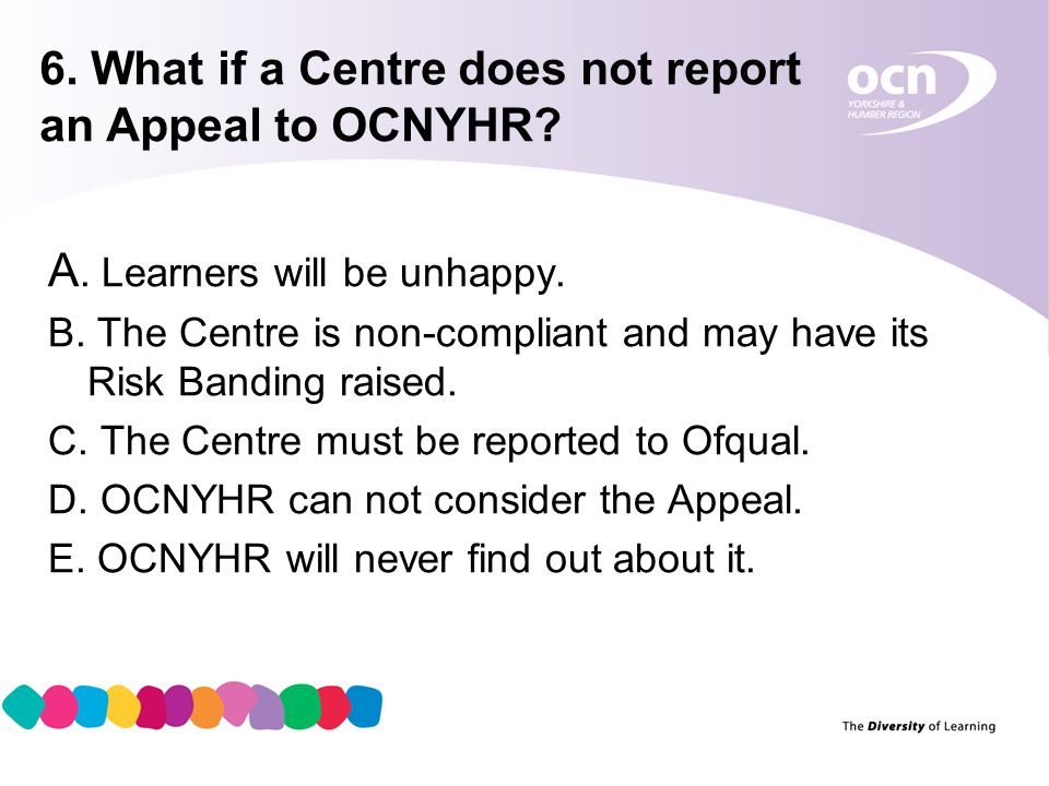 7 6. What if a Centre does not report an Appeal to OCNYHR.