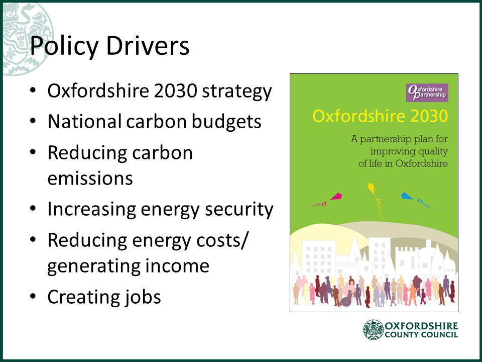Policy Drivers Oxfordshire 2030 strategy National carbon budgets Reducing carbon emissions Increasing energy security Reducing energy costs/ generating income Creating jobs