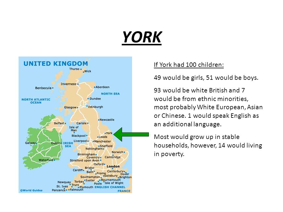 YORK If York had 100 children: 49 would be girls, 51 would be boys. 93 would be white British and 7 would be from ethnic minorities, most probably Whi