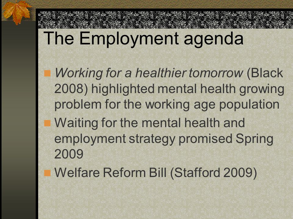 The Employment agenda Working for a healthier tomorrow (Black 2008) highlighted mental health growing problem for the working age population Waiting for the mental health and employment strategy promised Spring 2009 Welfare Reform Bill (Stafford 2009)