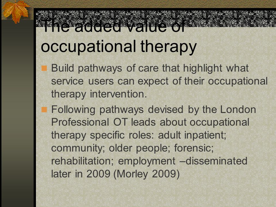 The added value of occupational therapy Build pathways of care that highlight what service users can expect of their occupational therapy intervention.