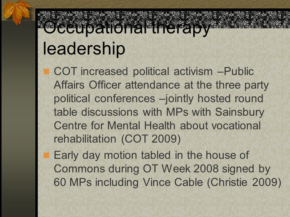 Occupational therapy leadership COT increased political activism –Public Affairs Officer attendance at the three party political conferences –jointly hosted round table discussions with MPs with Sainsbury Centre for Mental Health about vocational rehabilitation (COT 2009) Early day motion tabled in the house of Commons during OT Week 2008 signed by 60 MPs including Vince Cable (Christie 2009)