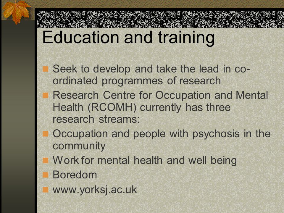 Education and training Seek to develop and take the lead in co- ordinated programmes of research Research Centre for Occupation and Mental Health (RCOMH) currently has three research streams: Occupation and people with psychosis in the community Work for mental health and well being Boredom www.yorksj.ac.uk